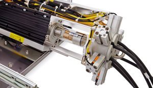 Powerful linear motor syringe drive with contact-free valve system