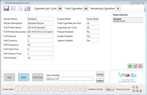 VC 10® Smoking Robot smoking parameters